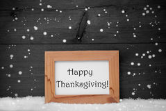 Frame With Gray Background, Happy Thanksgiving, Snow, Snowflakes Stock Photography