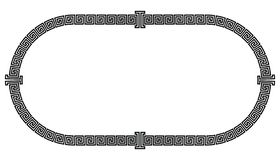 Frame in the Greek style. Oval frame in the greek style isolated on white background vector illustration