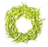 Frame with green chilis Capsicum annuum Stock Photo