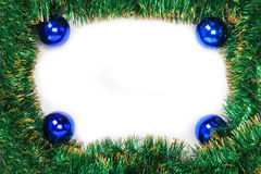 Frame of green Christmas garland with blue balls Stock Photos