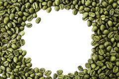 A frame from green coffee beans with empty copy space. royalty free stock photos