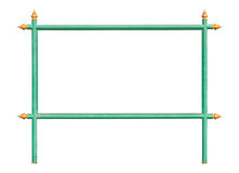 Frame of green iron sign with Thai style golden apex Royalty Free Stock Photo