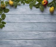 Frame of green leaves, apples and a pears on wooden vintage boards. stock image