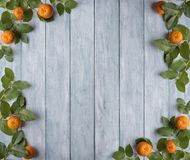 Frame of green leaves and mandarins on wooden vintage boards. Place for text. stock photos