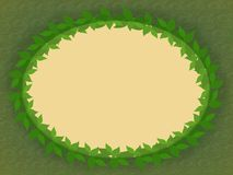 A frame of green leaves nested in a circle. A wreath of green leaves on a green background Royalty Free Stock Photo