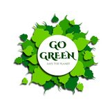 Frame of green leaves in paper cut style. Text go green, save the planet. Vector stock illustration
