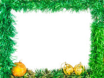 Frame of green New Year tinsel Royalty Free Stock Images