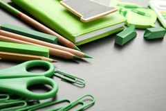Frame of green office supplies Royalty Free Stock Photo