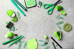 Frame of green office supplies Stock Photography
