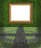 Frame on green painted stone wall backgroun Royalty Free Stock Photography