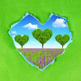 Frame from green paper heart Royalty Free Stock Photos