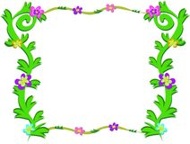 Frame of Green Plants and Colorful Flowers Royalty Free Stock Images