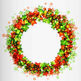 Frame with green and red stars Stock Photography