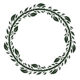 Frame with green rose leaves, branches and thorns. Round frame with green rose leaves,branches and thorns.Decoration for greeting card,wedding invitation,save stock illustration