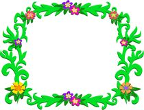 Frame of Green Tropical Vines and Flowers Royalty Free Stock Photo