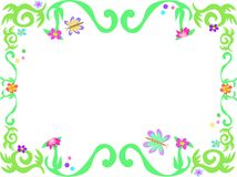 Frame of Green Vines and Butterflies Royalty Free Stock Image