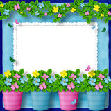 Frame for greeting with garland of flower Stock Images