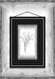 Frame on grunge texture background. Illustration of frame on grunge background with abstract floral branch Stock Photography