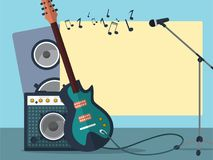 Frame with a guitar, combo amp, microphone, speaker and notes on a blue background. stock images