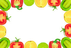 The frame of the halves of the fruit and vegetables on a white background Stock Photos