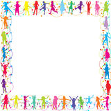 Frame with hand drawn children silhouettes Royalty Free Stock Image