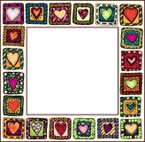 Frame with hand-drawn hearts in doodle frames.