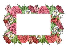 Frame of hand drawn roses and chamomiles with a place under the text. royalty free illustration
