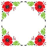 Frame with hand drawn sketch of red poppies. Vector illustration. royalty free illustration
