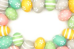 Frame of hand painted Easter eggs over white Royalty Free Stock Images