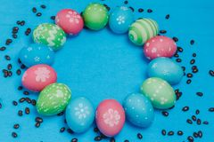 Frame of hand painted pastel Easter eggs Stock Photography