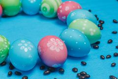 Frame of hand painted pastel Easter eggs Royalty Free Stock Images