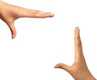 Frame handen geïsoleerdo vierkant als achtergrond royalty-vrije stock afbeeldingen