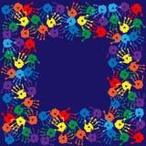 Frame with handprints on  blue background. Frame with handprints on a blue background Royalty Free Stock Image