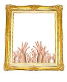 Frame in hands isolated on white background Stock Photos