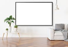 Frame hanging in bright white living room with plants and decorations mockup 3D rendering stock illustration