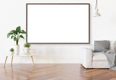 Frame hanging in bright white living room with plants and decorations mockup 3D rendering royalty free illustration
