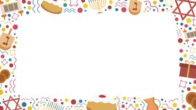 Frame with Hanukkah holiday flat design icons. Template with space for text, isolated on background