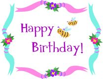 Frame with Happy Birthday Bees. Here is a colorful Birthday Frame with Bees and Flowers Royalty Free Stock Photography
