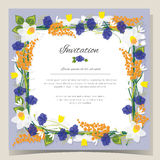 Frame Happy Birthday card. Frame Wedding invitation card with flowers Vector illustration. Frame Happy Birthday card. Frame Wedding invitation card with flowers Stock Photos
