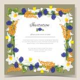 Frame Happy Birthday card Frame Wedding invitation card with flowers. Vector illustration Royalty Free Stock Photos