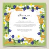 Frame Happy Birthday card Frame Wedding invitation card with flowers. Vector illustration Stock Photo