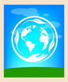 Frame happy earth day. Circle of life happy earth days with leaf and green and blue colours stock illustration