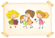A frame with happy kids. Illustration of a frame with happy kids on a white background Stock Photography