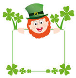 Frame with happy leprechaun. Green st patrick´s day frame with happy smiling leprechaun and four-leaf shamrocks Stock Images