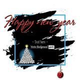 Happy New Year and soccer balls. Frame Happy New Year and Christmas tree from soccer balls on grunge background. Vector illustration Royalty Free Stock Photo