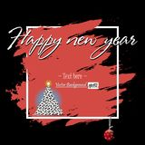 Happy New Year and soccer balls. Frame Happy New Year and Christmas tree from soccer balls on grunge background. Vector illustration Stock Photography