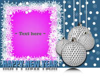 Frame Happy new yearand golf ball vector illustration