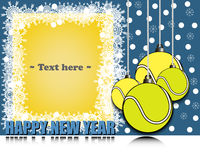 Frame Happy new yearand tennis balls Royalty Free Stock Photo