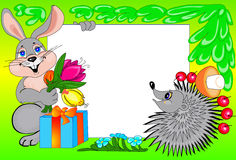 Frame hare. Decorative framework with the image of a happy hare with a bouquet of colors and a hedgehog with fruits Stock Photos