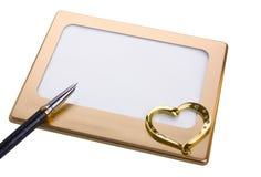 Frame, hartvorm die op wit wordt geïsoleerde Royalty-vrije Stock Foto